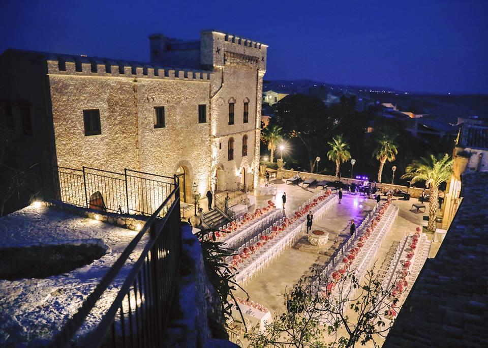 panoramica castello ducale colonna, banchetto serale stile impero